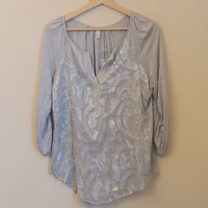 TINY Anthropologie Glitter Swirl Roll Sleeve Top